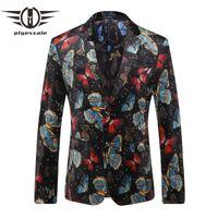 Plyesxale nuovo arrivo 2018 uomini blazer stampa giacca per uomo modello di farfalla stile britannico vestito da sposa di marca blazers Q203