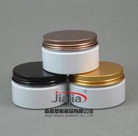 100g Beyaz Plastik Kavanoz Süt Renk PET Kozmetik Ambalaj, Cap Siyah / Bronz / Altın Alüminyum Vida 100ml beyaz PET kavanoz boşaltın