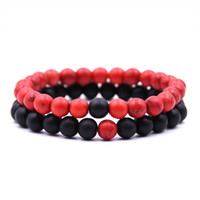 Venda quente Distância Pulseiras para Os Amantes 2 pçs / set Pedra Natural Beads Casal Pulseira Dia Dos Namorados Jóias