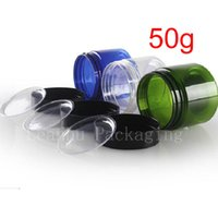 50g colored empt round cosmetic cream PET jars with plastic ...