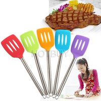 Silicone Stainless Steel Spatula 34*8. 3CM Slotted Silicone S...