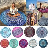 Mandala indien serviette ronde plage couverture en mousseline de soie éléphant impression tapisserie tapis de yoga tapis de pique-nique d'été 31 dessins CNY67