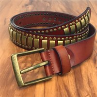 Gold Heavy Metal Cowboy Belt Buckle Rivet Punk Men Leather Belt Jeans Men's Ceinture Homme Rock Strap Male MBT0586