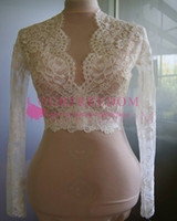 New Lace Wedding Jackets Long Sleeves Sexy V- neck Lace Brida...
