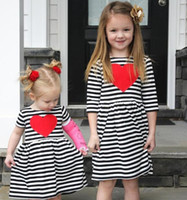 2 Color Girl INS stripe heart- shaped Princess Dress New Chil...