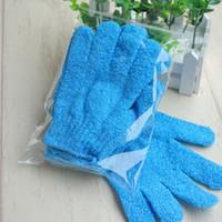 10 adet mavi naylon vücut temizleme duş eldivenleri Peeling Banyo Beş parmak Banyo Eldiven
