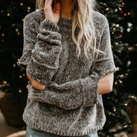 Women Casual Chenille Sweater Hole Knitted Pullovers Female ...