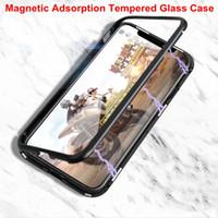 Magnetische Adsorption Gehard Glass Back Case Panel Telefoon Cover Telefoonhoesje met Metalen Frame voor iPhone X iPhone 8 7 6
