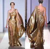 Sexy Um Ombro Pageant Ouro Vestidos de Noite Zuhair Murad Haute Couture Apliques Brilhantes Longos Prom Vestidos Frete Grátis