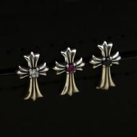 Brand new 925 sterling silver vintage Europe Europe style designer bijoux fait à la main croix boucles d'oreille avec CZ pour hommes femmes hot vente