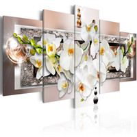5 Pieces Print Painting White Floral Orchids on Canvas Moder...