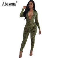 Abasona Femmes Combinaisons Vintage Imprimé À Manches Longues Salopettes Automne Maigre Long Pantalon Avant Zipper Club Barboteuses Femmes Combinaison