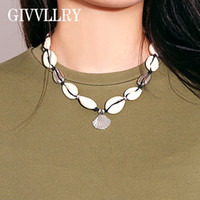 GIVVLLRY Boho Handmade Shell Collana a catena per donna Ethnic Beach Black corda Weave Metal Shelly Pendant Collare Collana girocollo