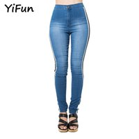 YiFun 2018 Spring Wash Skinny Denim Female Blue High Waist B...