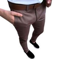 CALOFE hombres de la vendimia Pantalones de traje de boda sólido de la manera pantalones de vestir Social Business 2018 delgados otoño Fit Pantalones para hombre