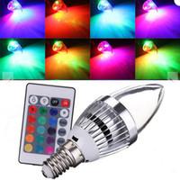 Lampadine LED RGB LED E12 E14 3W Lampadine LED Lampadine 16 colori Cambia + 24Keys IR Remote Controller