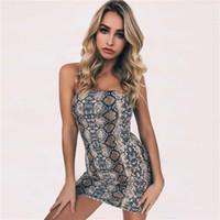 European Fashion Sexy Women's Off Shoulder Tube Top Bodycon Ärmlös Snake Print Tunic Short Mini Dress SML