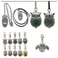 Collier de montre de poche de chouette rétro, chaines de poche suspendus Quartz Montre Enfants Femmes Hommes Cadeau Vintage 10 couleurs AAA113