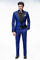 Custom Made Kraliyet Mavi Damat Smokin Tepe Yaka Ucuz Erkekler Düğün Groomsmen Smokin Slim Fit Yemeği Balo Takımları (Ceket + Pantolon + Kravat)