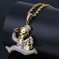 Hip Hop Iced Out Gold Color Plated Running Clown Necklace Mi...