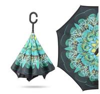 2017 criativo invertido guarda-chuvas de dupla camada com c lidar com dentro de fora reverter guarda-chuva à prova de vento mult cores