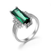 Luckyshine 3 шт. / Лот Рождество стерлингового серебра 925 пробы цветов квадратный Зеленый кристалл кварца Кольцо для леди