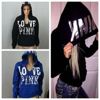 2 Colors PINK Letters Hoodies Love Pink Coat Sweatshirts Jac...