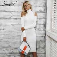 Simplee Cold shoulder turtleneck knitting winter dress women...
