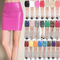 Nuevo diseño de moda de las mujeres de alta cintura elástica PU de cuero sexy bodycon túnica corta lápiz falda color del caramelo mini falda más el tamaño SMLXL