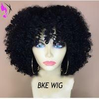 Top-Qualität schwarz / braun / Burgund kurze Afro verworrene lockige Frauen Perücken hohe Dichte Spitze vorne Kunsthaar Perücken für Afrika Amerikaner