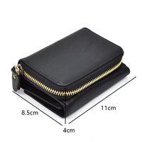 Vente en gros- Unisexe portefeuille de poche en cuir véritable Thrifold zip autour de la poche à court porte-monnaie fermeture à glissière porte-monnaie Snap cuir véritable porte-monnaie court