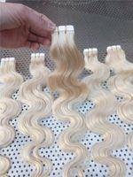 """Lummy Indian Remy Hair 16 """"18"""" 20 """"22"""" 24 """"24"""" 100 جرام 40 قطع # 613 الجسم موجة الشريط في الشعر الغراء الجلد لحمة الشعر التمديد"""