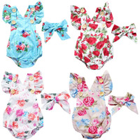 5- Color Baby Girl Bodysuit + Headband 2- Pieces Clothes Suit ...