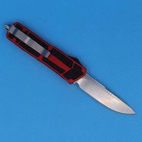 프로모션 레드 자동 전술 칼 단일 가장자리 드롭 포인트 미세한 새틴 블레이드 항공 알루미늄 손잡이 EDC 포켓 생존 나이프