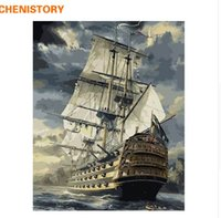 CHENISTORY Sailing Boat DIY Painting By Numbers Drawing Pain...