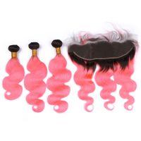 Rosa Ombre Virgin brasilianische Körperwelle Haarbündel Angebote 3 Stücke mit 13x4 Spitze Frontal Schließung Dunkle Wurzel # 1B / Rosa Ombre Menschliches Haar spinnt