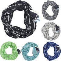 2018 New Convertible Infinity Scarf Women geometric Print Pocket Zipper Pocket Scarves winter warm Shawl Bib scarves Gift