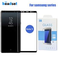 Samsung Galaxy notu paketi ile 9 s9 s8 S7 Kenar S8 Note8 9H 3d Kavisli Yan Tam Kapak temperli cam Ekran Koruyucu için