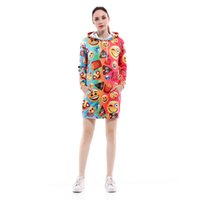 Femmes à capuche long Emoji 3D Full Print Girl Sweat à capuche Lady Casual Pull Hoodies Manches longues Sweatshirts Graphic Tops (RLCWY-0001)