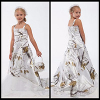 Vestidos hermosos de la muchacha de flor del cordón de Camo del árbol real blanco Vestidos formales en línea de la boda del cumpleaños de los niños del niño de encargo del camuflaje Vestidos de la fiesta de cumpleaños del satén