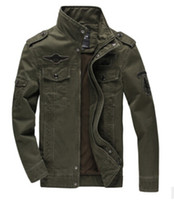 Erkek Ceketler Erkekler Rahat Ordu Pilot Sonbahar Kış Bombacı Uçuş Ceket Uzun Kollu Palto Erkek Giyim
