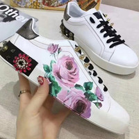 2018 New Fashion Fashion Print pour les baskets Love Low Top en cuir noir et blanc femme Casual Shoes