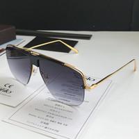 0724 Yeni Moda Güneş Gözlüğü Erkekler Için UV Koruma Ile Vintage Kare Yarım Çerçeve Popüler En Kaliteli Case Klasik Güneş Gözlüğü Ile Gel
