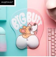 Bonito Cão Corgi 3D Mouse Pad Ergonômico Gel De Silicone Macio Anime Mousepad Com Suporte Para o Punho Mouse Mat Para O Presente Das Meninas
