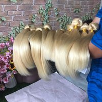 Großhandel 613 1B / 613 Gerade Körper-Wellen-Blond Menschliches Haar Bundles Peruanischen brasilianischen Malaysian Virgin Blondes Haar Weaves Freies Verschiffen