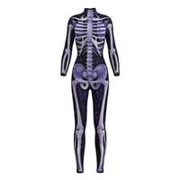 Nouveau Femmes Halloween Bodycon Combinaison Or Noir Floral Squelette Sexy Combinaisons À Manches Longues S À XL 2 Modèles