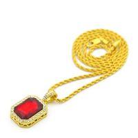 Vintage Golden Bling Iced Out Mini Piedra Colgantes Collares Hombres Mujeres Encanto Crystal Hip Hop Joyería Regalos Cadena
