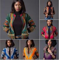 2017 Sexy Indie Folk Femmes Veste Manteau Dashiki Africain Imprimé Bomber Veste Automne Hiver New Basic Outwear Afrique Vêtements