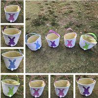 Ostern-Kaninchen-Korb DIY Osterhase-Taschen-Kaninchen druckte Segeltuch-Einkaufstasche-Ei-Süßigkeits-Körbe 4 Farben LC671