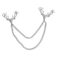 Oro Ciervo Cabeza Cadena Lepal Pins Broche Camisa Collar pin Moda Joyería para Mujeres Hombres Will y Sandy Drop Shipping